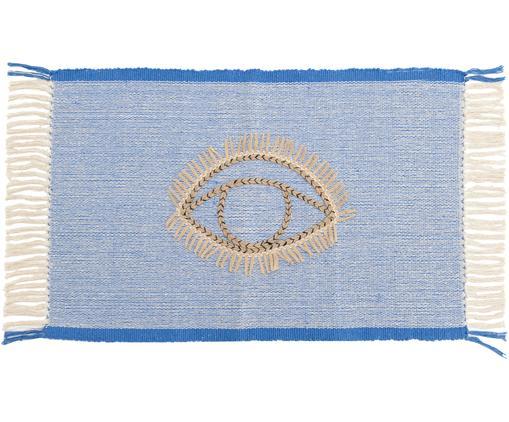 XS-vloerkleed Eye, Blauw, crèmekleurig, jutekleurig, zwart