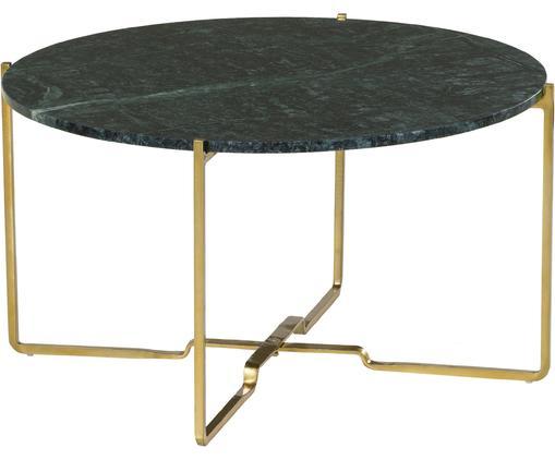 Runder Marmor-Beistelltisch Margot, Tischplatte: Marmor Naturstein, Gestell: Metall, pulverbeschichtet, Tischplatte: Grüner MarmorGestell: Goldfarben, matt, Ø 71 x H 39 cm