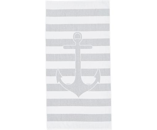 Gestreiftes Strandtuch Anon mit Anker-Motiv, Baumwolle leichte Qualität 380 g/m², Grau, Weiß, 80 x 160 cm
