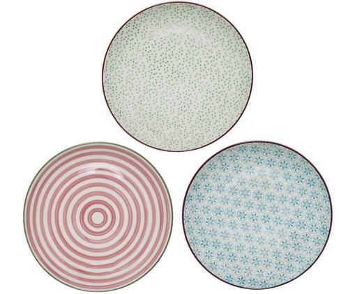 Frühstücksteller-Set Patrizia, 3-tlg., Steingut, Weiß, Grün, Rot, Blau, Ø 20 cm