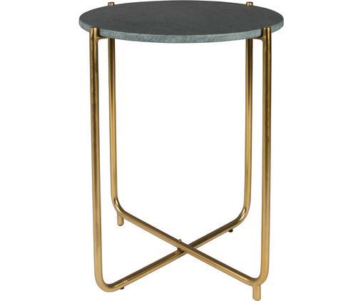 Tavolino rotondo con piano in marmo Timpa, Gambe: metallo ottonato, Piano d'appoggio: verde marmorizzato Gambe: ottone, Ø 45 x Alt. 54 cm