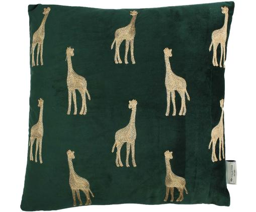 Cuscino con imbottitura in velluto ricamato Giraffe, Velluto (poliestere), Verde, dorato, Larg. 45 x Lung. 45 cm