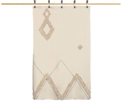 Copriletto in cotone con modello a rilievo Royal, Cotone, Bianco crema, marrone, Larg. 240 x Lung. 260 cm