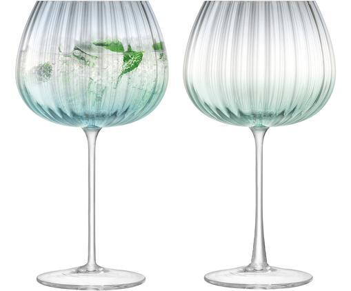 Handgefertigte Weingläser Dusk mit Farbverlauf, 2er-Set, Glas, Grün, Grau, Ø 10 x H 20 cm