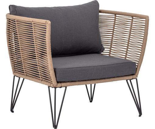 Fotel wypoczynkowy ogrodowy ze splotu z tworzywa sztucznego Mundo, Stelaż: metal malowany proszkowo, Tapicerka: poliester, Brązowy, S 87 x G 74 cm