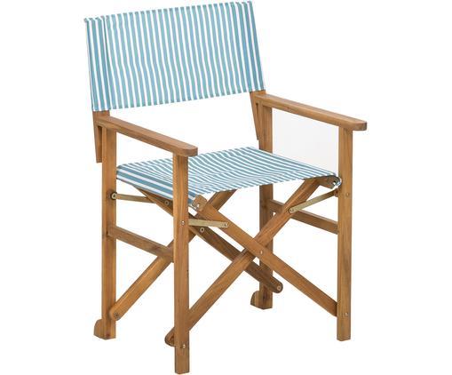 Krzesło reżysera Zoe, Stelaż: drewno akacjowe, olejowan, Biały, niebieski, S 59 x G 91 cm