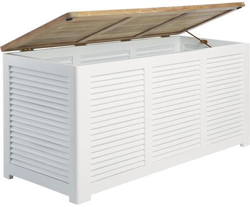 Tuinbox Storage van hout, Deksel: gepolijst teakhout, Teakhoutkleurig, wit, 130 x 60 cm