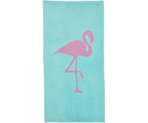 Strandtuch Mina mit Flamingo-Motiv, Baumwolle leichte Qualität 380 g/m², Türkis, Pink, 80 x 160 cm