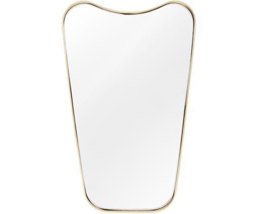 Wandspiegel Goldie mit Goldrahmen, Rahmen: Metall, Spiegelfläche: Spiegelglas, Rückseite: Mitteldichte Holzfaserpla, Messingfarben, gebürstet, 50 x 80 cm