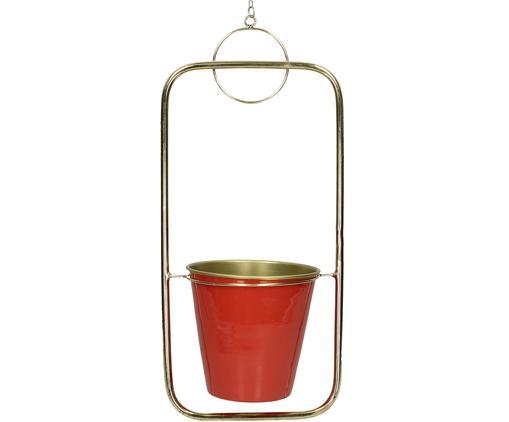 Portavaso pensile Jocko, Metallo rivestito, Rosso, ottonato, Larg. 21 x Alt. 46 cm