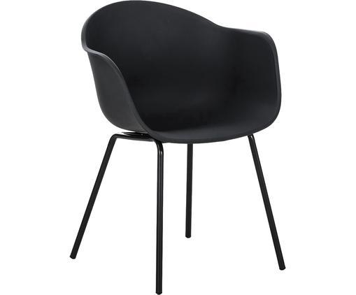 Kunststoff-Armlehnstuhl Claire mit Metallbeinen, Sitzschale: Kunststoff, Beine: Metall, pulverbeschichtet, Kunststoff Schwarz, B 54 x T 60 cm