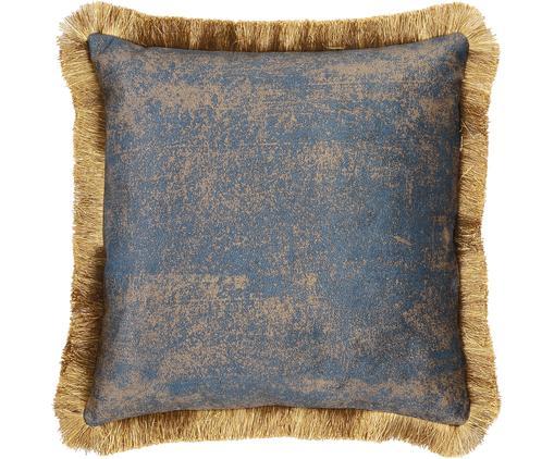 Samt-Kissen Velvia mit Fransen, mit Inlett, Bezug: Polyestersamt, Blau, Braun, 45 x 45 cm