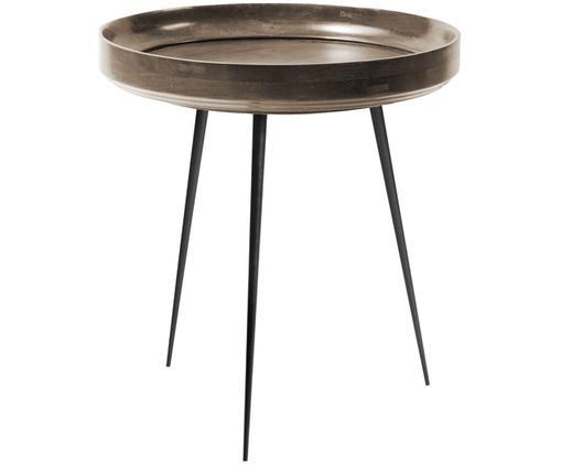 Design-Beistelltisch Bowl Table aus Mangoholz, Tischplatte: Mangoholz, gebeizt und la, Beine: Stahl, pulverbeschichtet, Braun, Schwarz, Ø 46 x H 52 cm