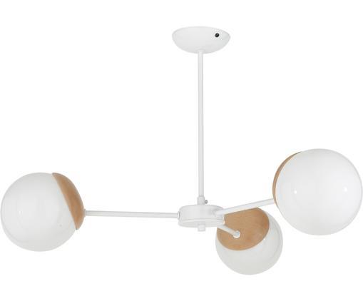 Skandi-Deckenleuchte Sfera, Lampenschirm: Opalglas, Weiß, Holz, Ø 66 x H 42 cm
