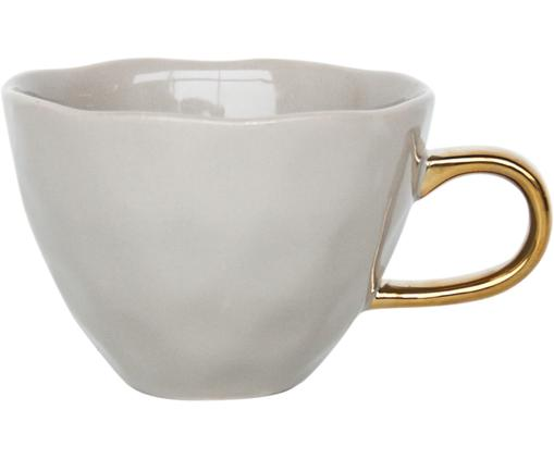 Tasse Good Morning in Grau mit goldenem Griff, Steingut, Grau, Goldfarben, Ø 11 x H 8 cm