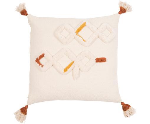 Housse de coussin à houppes Amerida, Blanc cassé, orange, jaune
