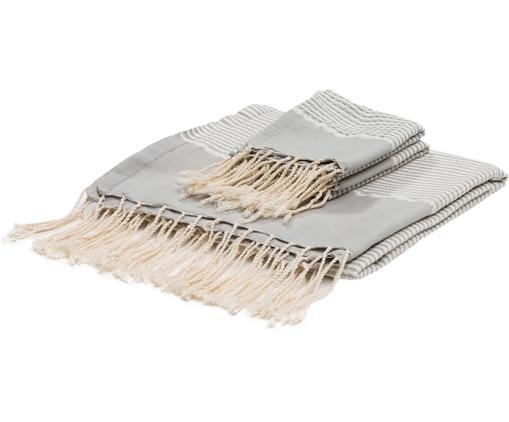 Set di 3 asciugamani con bordo in lurex Copenhague, Cotone, Qualità molto leggera 200g/m² Fili di lurex, Grigio perlato, argento, bianco, Diverse dimensioni