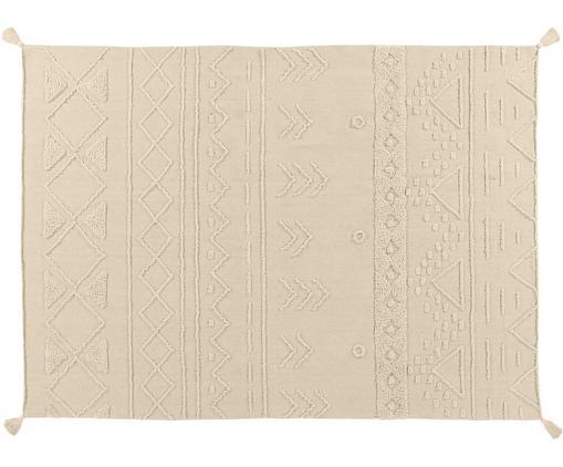 Ethno Teppich Tribu mit getuftetem Muster, Flor: 97% recycelte Baumwolle, , Grau, Beige, B 140 x L 200 cm (Größe S)