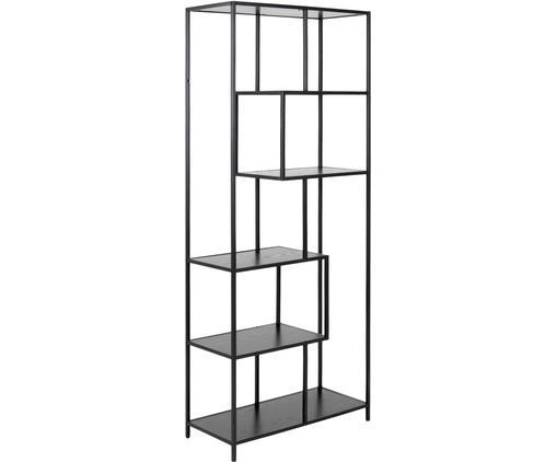 Estantería de metal Seaford Zig, Estantes: tablero de fibras de dens, Estructura: metal, pintura en polvo, Negro, An 77 x Al 185 cm