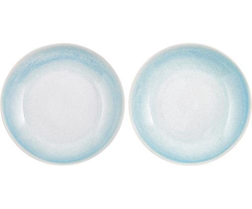 Assiettes à soupe artisanales Amalia, 2 pièces, Bleu ciel, blanc crème