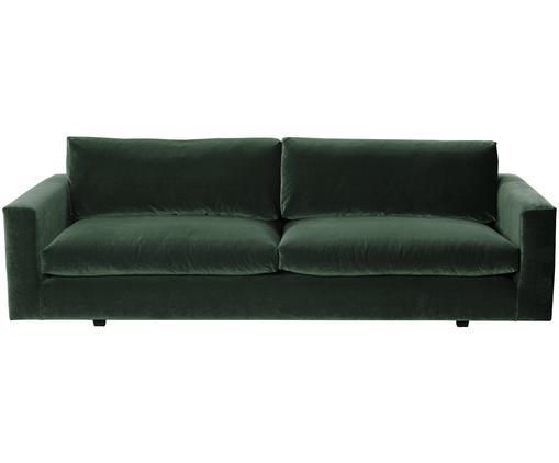 Canapé en velours Linda (3places), Revêtement: vert Pieds: noir