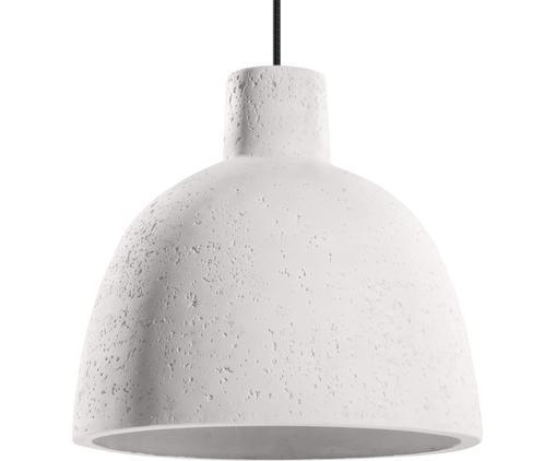 Lampada a sospensione Philippo, Paralume: cemento, Baldacchino: metallo rivestito, Bianco, Ø 28 x Alt. 24 cm
