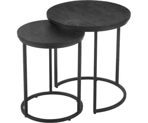 Set de mesas auxiliares Andrew, 2uds., Tablero: madera de mango maciza, c, Estructura: metal con pintura en polv, Negro, Tamaños diferentes