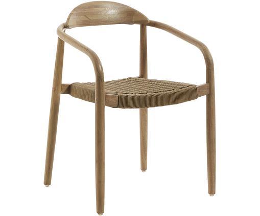 Chaise en bois massif à accoudoirs Nina, Brun
