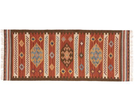 Passatoia in lana tessuta a mano Zohra, Retro: lana, Rosso, multicolore, Larg. 80 x Lung. 200 cm