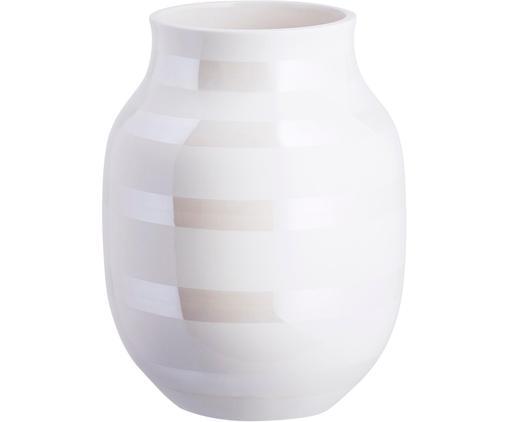Vaso di design fatto a mano Omaggio, Ceramica, Bianco, colori madreperla, Ø 17 x Alt. 20 cm