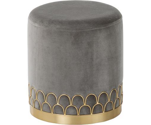 Samt-Hocker Tiara, Bezug: Baumwollsamt, Fuß: Metall, pulverbeschichtet, Grau, ∅ 38 x H 42 cm