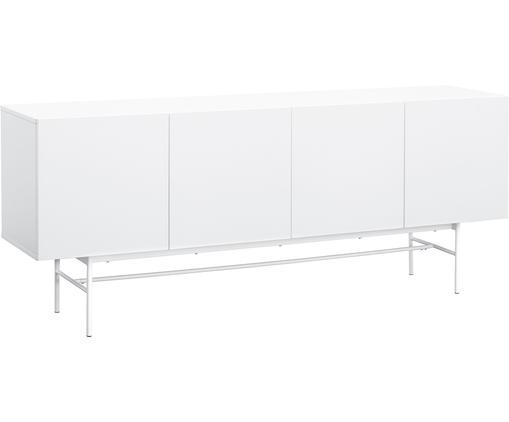 Modernes Sideboard Anders, Korpus: Mitteldichte Holzfaserpla, Füße: Metall, pulverbeschichtet, Korpus: WeißFüße: Weiß, matt, 200 x 80 cm