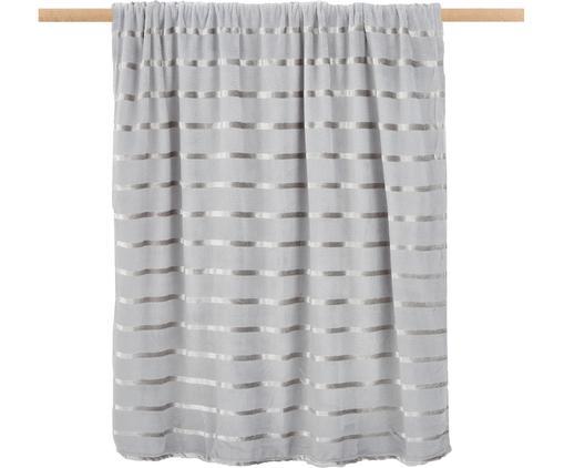 Weiches Fleece-Plaid Clyde mit schimmernden Streifen, Polyester, Grau, Beige, 130 x 160 cm