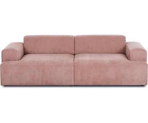Sofa ze sztruksu Marshmallow (3-osobowa), Tapicerka: sztruks (92% poliester, 8, Stelaż: lite drewno sosnowe, płyt, Nogi: drewno sosnowe, Blady różowy, S 240 x G 101 cm