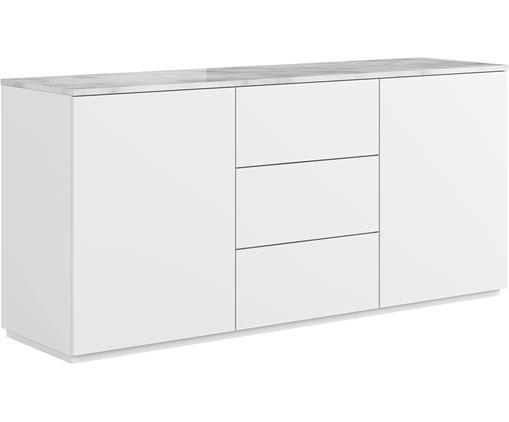 Sideboard Join mit weiß-grauer Marmorplatte, Ablagefläche: Marmor, Korpus: Mitteldichte Holzfaserpla, Weiß, 180 x 85 cm