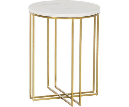 Runder Marmor-Beistelltisch Joyce, Tischplatte: Marmor Naturstein, Gestell: Metall, beschichtet, Tischplatte: Weiß-grauer Marmor Gestell: Goldfarben, glänzend, Ø 40 x H 50 cm