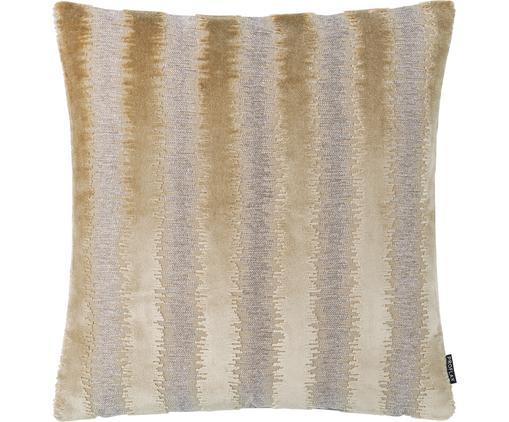 Schimmernde Kissenhülle Andres mit unterschiedlicher Struktur, 53% Viskose, 41% Polyester, 7% Baumwolle, Beigetöne, 40 x 40 cm