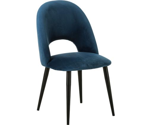 Krzesło tapicerowane z aksamitu Rachel, Tapicerka: aksamit (wysokiej jakości, Nogi: metal malowany proszkowo, Aksamitny ciemny niebieski, S 53 x G 57 cm
