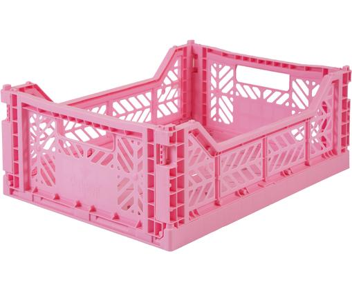 Cesta media pieghevole ed impilabile Midi, Materiale sintetico riciclato, Rosa, Larg. 40 x Alt. 14 cm