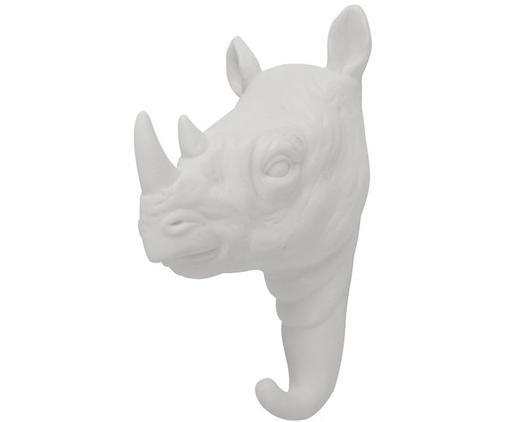 Gancio da parete in porcellana Rhino, Porcellana, Bianco, Alt. 14 cm
