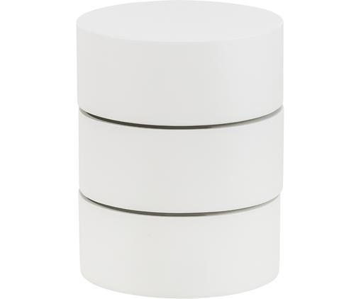 Stolik pomocniczy z ruchomymi przegródkami Loka, Lakierowana płyta pilśniowa średniej gęstości (MDF), Biały, Ø 40 x W 51 cm