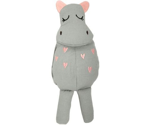 Kuscheltier Hippo aus Bio-Baumwolle, Grau, Rosa, 8 x 25 cm