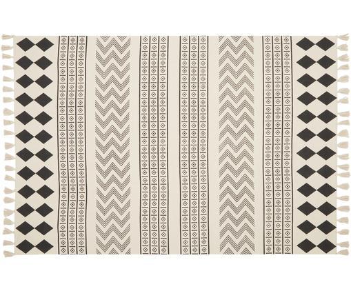 Tappeto etnico in cotone Edna, Cotone, Bianco crema, nero, Larg. 60 x Lung. 90 cm (taglia XS)