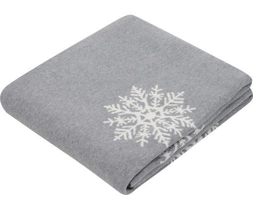 Manta doble cara Snowflake, 100%algodón, Gris, blanco crema, An 150 x L 200 cm