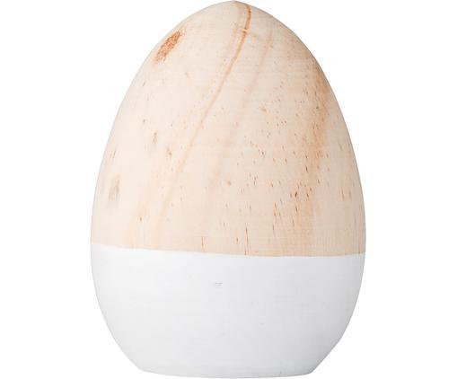 Dekoracja wielkanocna Egg, Drewno brzozowe, lakierowane, Drewno naturalne, biały, Ø 7 x 9 cm
