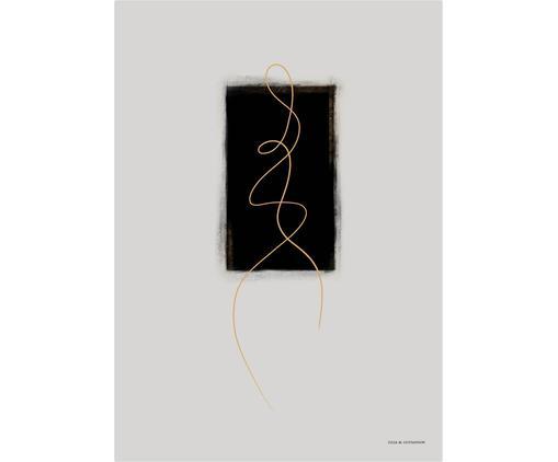 Poster Pose, Digitaldruck auf Papier, matt  (180 g/m²), Hellgrau, Schwarz, Goldfarben, 21 x 30 cm