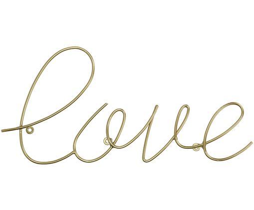 Wandobjekt Love aus beschichtetem Metall, Metall, beschichtet, Messingfarben, 40 x 20 cm