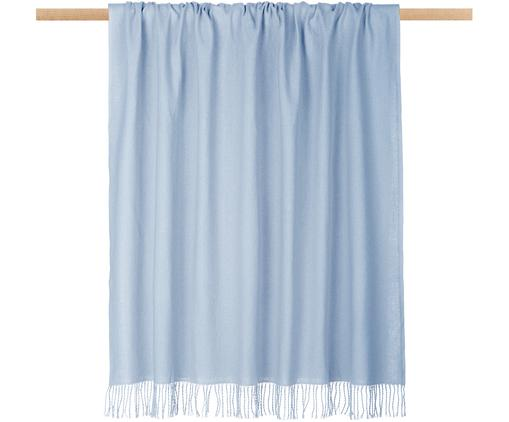 Plaid unicolore bleu clair à franges Madison, Bleu ciel