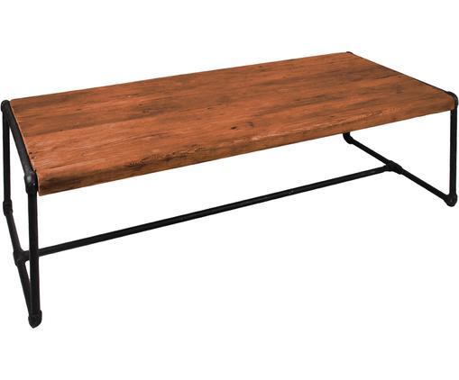 Couchtisch Iron aus Teakholz, Tischplatte: Teakholz, recycelt, natur, Fuß: Eisen, pulverbeschichtet,, Teak, Schwarz, 120 x 40 cm