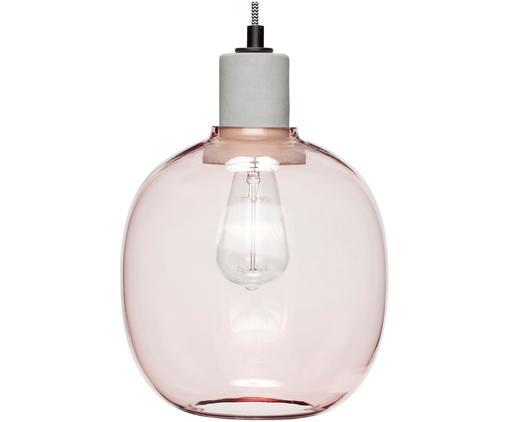 Lampada a sospensione Rasanel, Paralume: vetro, Baldacchino: metallo rivestito, Rosa, Ø 23 x Alt. 30 cm
